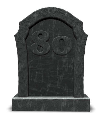 gravestone with number eighty on white background - 3d illustration Stock Photo