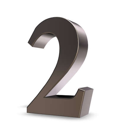 number two: metal number two on white background - 3d illustration