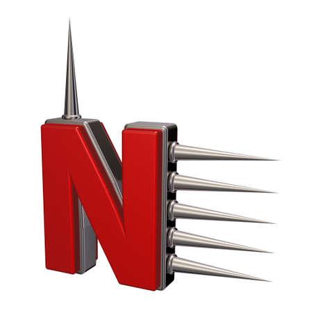 prickles: letter n with metal prickles on white background - 3d illustration