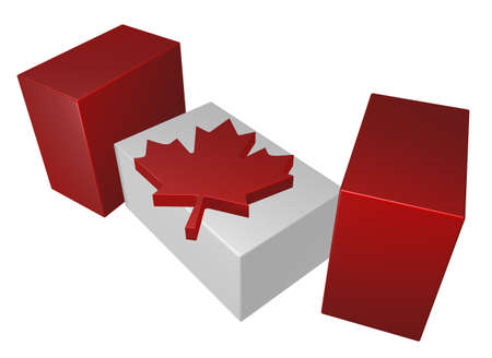 canadian flag: pieces of canada flag on white background - 3d illustration Stock Photo