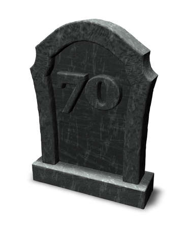 gravestone with number seventy on white background - 3d illustration illustration