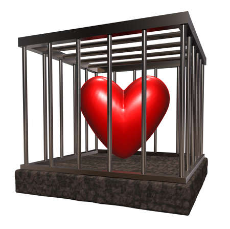 metal cage with red heart inside - 3d illustration