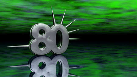 eighty: number eighty with prickles on abstract green background - 3d illustration Stock Photo