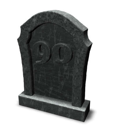 gravestone with number ninety on white background - 3d illustration illustration