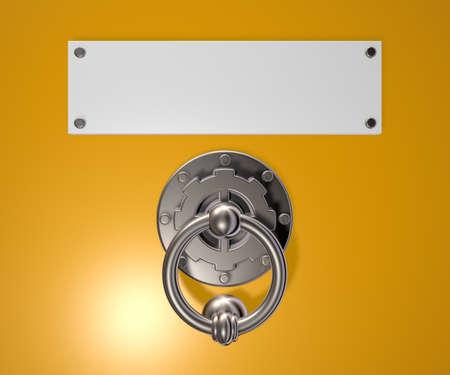 tocar la puerta: doorknocker metálica y cartel blanco en blanco - 3d ilustración Foto de archivo