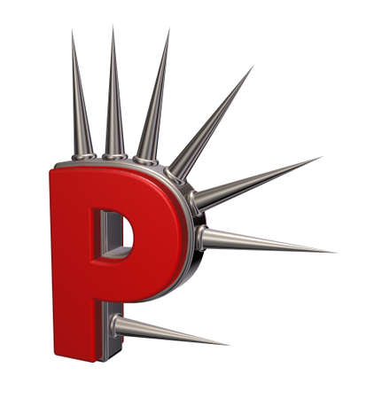 prickles: letter p with metal prickles on white background - 3d illustration