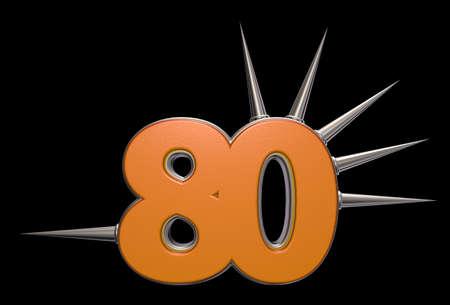 achtzig: Nummer 80 mit Stacheln auf schwarzem Hintergrund - 3d illustration