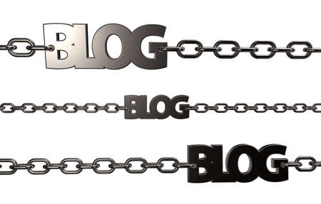 the word blog on chains - 3d illustration Stock Illustration - 16513233