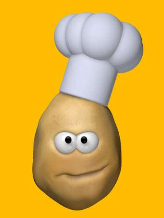 funny potato with cook hat - 3d illustration illustration