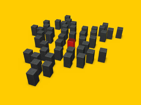 cuboid: disorder of stone cubes and one in red - 3d illustration Stock Photo