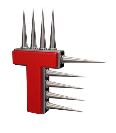 letter t with metal prickles on white background - 3d illustration
