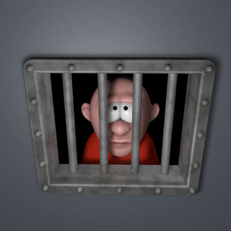 cartoon guy behind riveted steel prison window - 3d illustration illustration