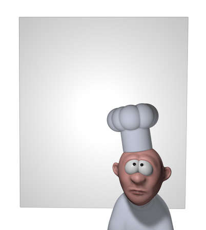funny cartoon cook in front of blank board - 3d illustration illustration