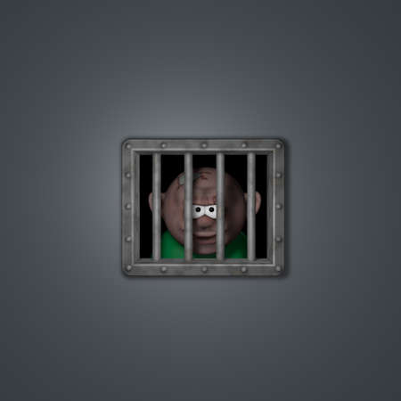 cartoon guy behind riveted steel prison window - 3d illustration Stock Illustration - 16549157