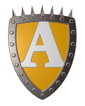 metal shield with letter A  on white background - 3d illustration illustration