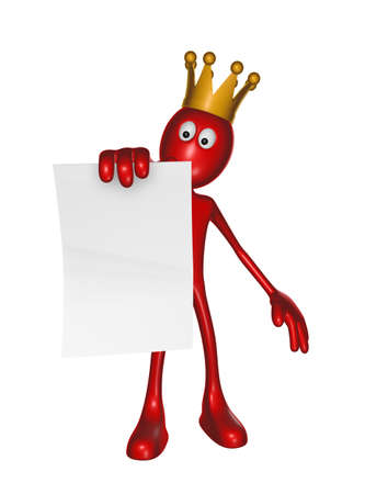 red guy with crown holds blank paper sheet - 3d illustration Stock Illustration - 16549156