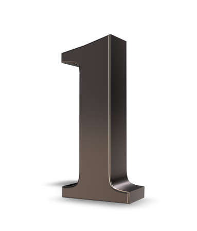 metal number one on white background - 3d illustration Stock Illustration - 16587168