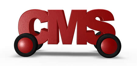 cms: cms tag on wheels - 3d illustration Stock Photo