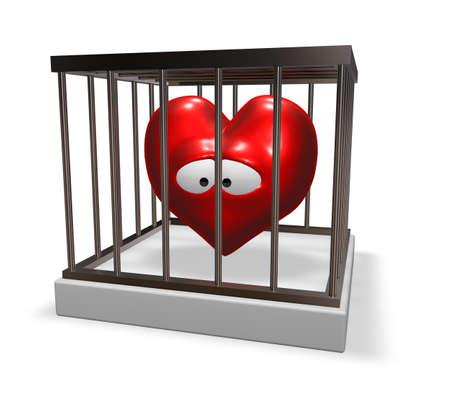 metal cage with red sad heart inside - 3d illustration Stock Illustration - 16587165