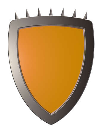 prickles: blank shield with prickles - 3d illustration Stock Photo