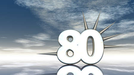 prickles: number eighty with prickles under cloudy blue sky - 3d illustration Stock Photo
