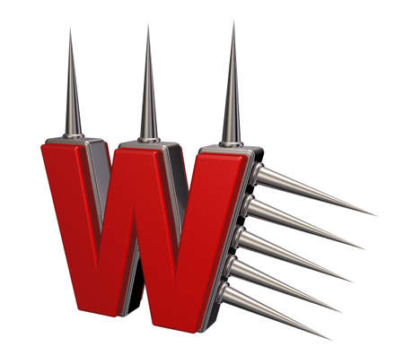 prickles: letter w with metal prickles on white background - 3d illustration Stock Photo