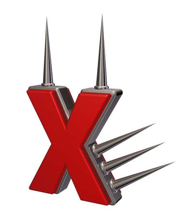 letter x with metal prickles on white background - 3d illustration Stock Illustration - 16587152