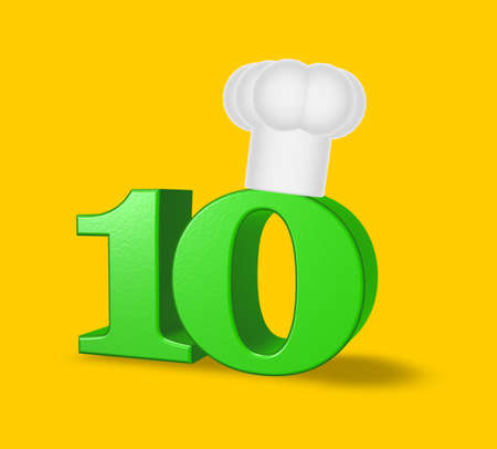 number ten with cook hat on yellow background - 3d illustration Stock Illustration - 16606460
