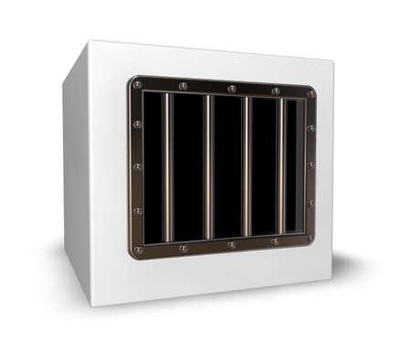 box with prison window - 3d illustration Stock Illustration - 16606466