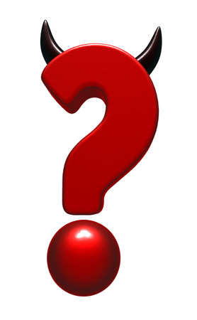 diabolical: question mark with horns on white background - 3d illustration Stock Photo