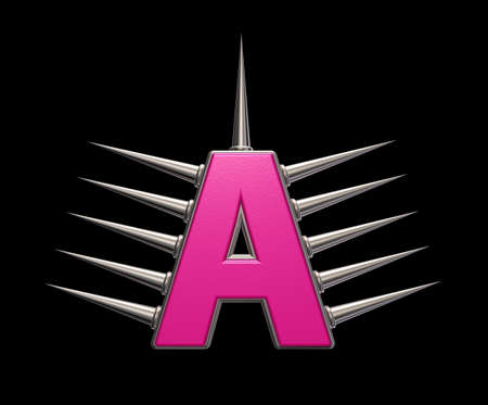 letter a with metal prickles on black background - 3d illustration illustration
