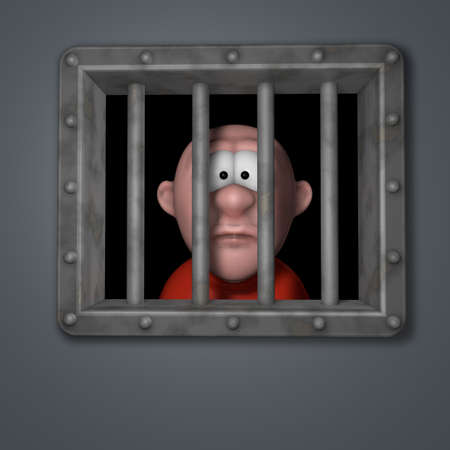 cartoon guy behind riveted steel prison window - 3d illustration Stock Illustration - 16631527