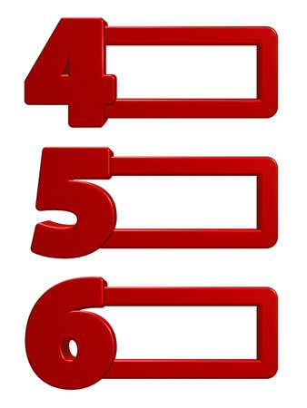 numbers 456 with frames on white background - 3d illustration illustration
