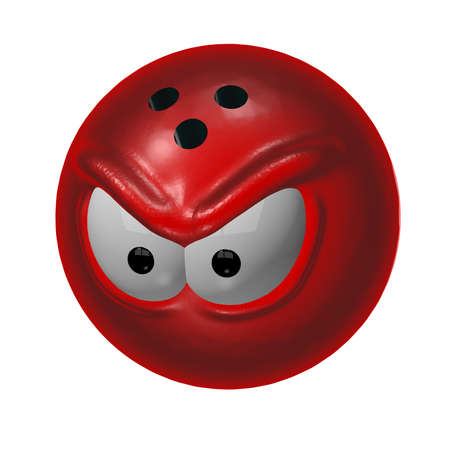 evil bowling ball - 3d cartoon illustration illustration