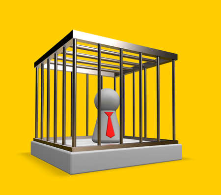 simple character with tie in cage - 3d illustration Stock Illustration - 16631557