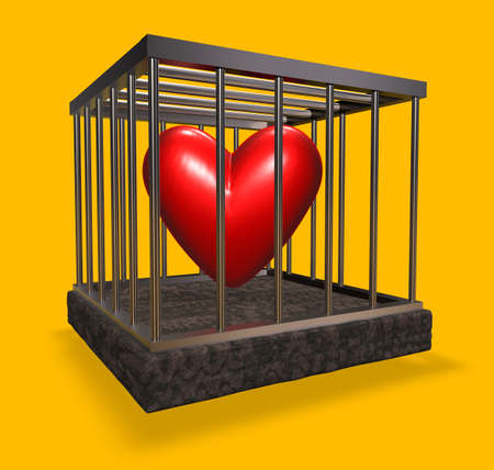 metal cage with red heart inside - 3d illustration Stock Illustration - 16631561