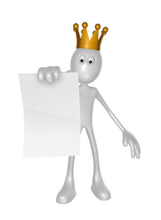 white guy with crown holds blank paper sheet - 3d illustration Stock Illustration - 16631531