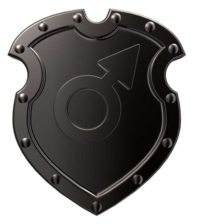 male symbol on metal shield - 3d illustration Stock Illustration - 16631559