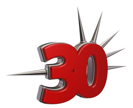 number thirty with prickles on white background - 3d illustration Stock Illustration - 16685860