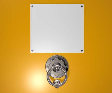 metalen Doorknocker en lege witte teken - 3d illustratie