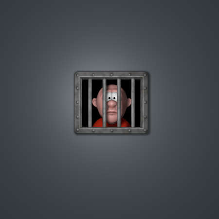 council: cartoon guy behind riveted steel prison window - 3d illustration