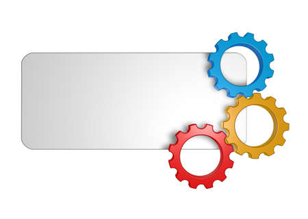 mechanical engineering: blank sign and gear wheels - 3d illustration Stock Photo