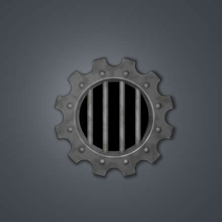 gear wheel prison window - 3d illustration Stock Illustration - 16711093