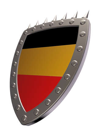 prickles: metal shield with german colors on white background - 3d illustration