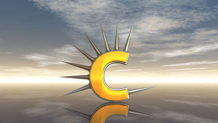 letter c with metal prickles on white background - 3d illustration Stock Illustration - 16723318
