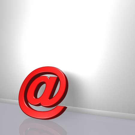 이메일 기호 흰색 상처 -3d 일러스트에 기댄 다. 스톡 콘텐츠