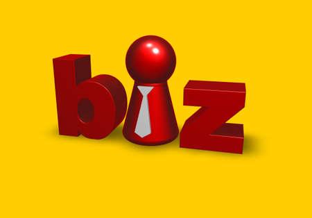token: token with tie in the word biz - 3d illustration Stock Photo
