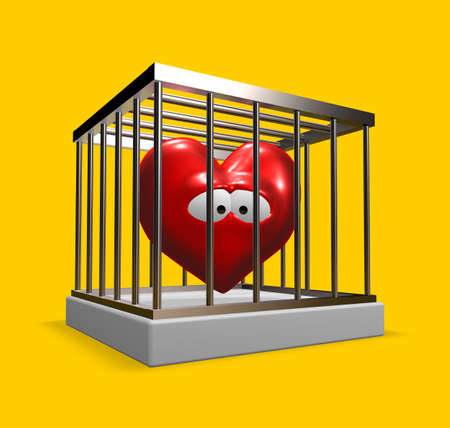 metal cage with red sad heart inside - 3d illustration Stock Illustration - 16723315