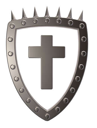 metal shield with christian cross  on white background - 3d illustration Zdjęcie Seryjne