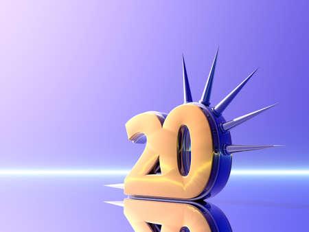 prickles: number twenty with prickles  - 3d illustration